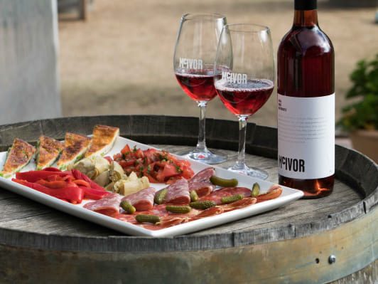 McIvor Estate wine and cheese platter